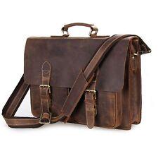 Crazy Horse Leather Men 15'' Laptop Briefcase Document Bag Portfolio Attache
