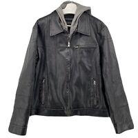 Mens Guess Black Bomber JacketFaux Leather - Large Lined Hooded Jacket EUC