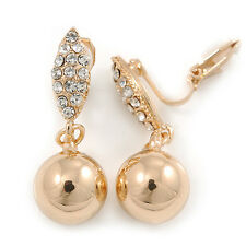 Gold Plated Crystal Ball Clip On Earrings - 35mm L