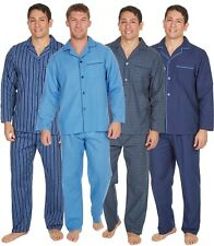 Mens Pyjamas Traditional Button Front Collar Stripe Check Pj Set Polycotton