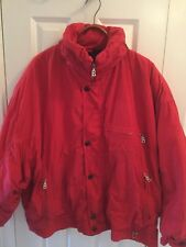 Rare! Mens Bogner Vtg. Red hooded Down Ski Coat Jacket sz.L