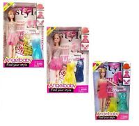 Girls Barbie Doll Fashion Play Set With 3 Dresses Clip Necklace Shoes Toy Gift