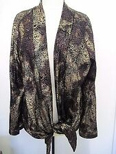 Chicos Travelers Collection Fools Gold Amber Jacket size 3 NWT