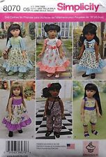 """SIMPLICITY 8070 AMERICAN GIRL 18"""" DOLL CLOTHES PATTERN EASTER DRESS JUMPSUIT NEW"""