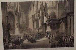 STEENDR - MIELING INCISIONE COLORATA 1849 INCORONAZIONE WILLEM III AMSTERDAM