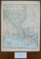 "Vintage 1900 LOUISIANA Map 11""x14"" Old Antique Original BATON ROUGE NEW ORLEANS"