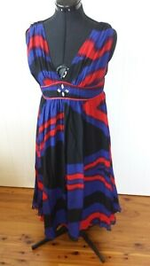 George Evening silk royal blue, red and black fully lined dress Size 12