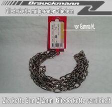 Zierkette 2 m Ø 2mm rund Stahlkette Gliederkette Metallkette vernickelt