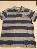 Rip Curl Polo Style Top. Size M. Blue & Gray Stripes. Great Condition