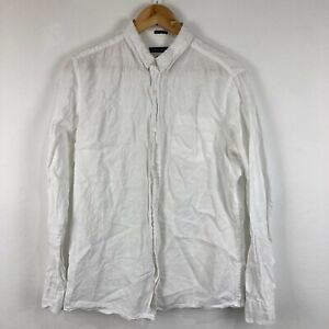 French Connection Mens Linen Button Up Shirt Small White Long Sleeve Collared
