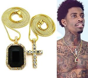 MENS HIP HOP GOLD MICRO CROSS & BLACK ONYX SQUARE PENDANT CHAIN NECKLACE