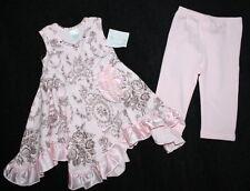 NWT GIGGLE MOON Victorian Floral Handkerchief Dress Leggings Set Girl Size 24 M
