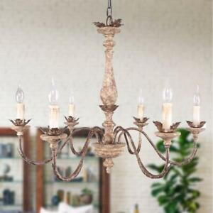 Oaks Decor French Traditional Wood, Iron Chandelier, 6-Light Distressed Bronze