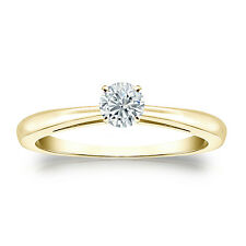 Certified 14k Yellow Gold 4-Prong Round Diamond Solitaire Ring 0.25ct G-H, I2-I3