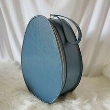 Vintage Suitcase Oval Train Case Carry On Bag Blue Mid Century Modern Egg Shape
