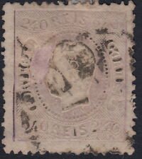 PORTUGAL:1867 King Luis 'Curved Label' perf  240 reis pale lilac  SG 67 used