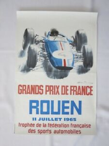 1965 Grands Prix de France Rouen Car Racing Event Poster - Authentic Original