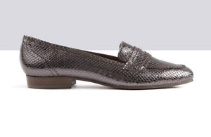 Ted & Muffy TOTTO Snakeskin Effect Pewter Penny Loafers UK 4 EU 37 LG06 48 SALEx