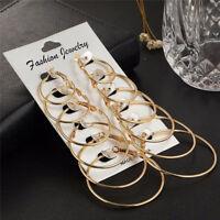 6Pairs/set Gold Silver Big Circle Hoop Earrings Women Vintage Steampunk Ear Clip