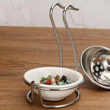 Ceramic Kitchen Ladle Spoon Rest Holder Stainless Steel Rack Swan shape