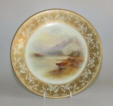 Royal Worcester dipinto a mano Highland Cattle Armadietto PIASTRA Harry stinton c1912