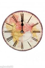 Atlas Round Electric Wall Clock & Stand Shabby Retro Vintage Chic 19 cm New