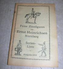 Alter Katalog - Feine Zinnfiguren von Heinrichsen Nürnberg Sorten Liste von 1914