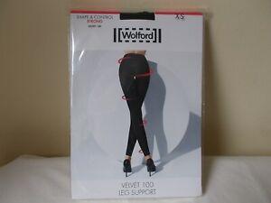 WOLFORD VELVET 100 LEG SUPPORT SHAPE AND CONTROL LEGGINGS SIZE XS BLACK