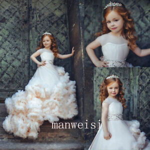 Ivory Tulle Flower Girl Dress Rhinestones Princess Pageant Kids Gowns With Train