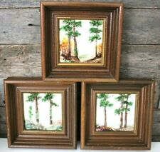 Original Clyde E Gray Art Tiles Framed~Set of 3~East Texas Artist Painter Signed