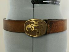 St. Crispin Kcmo Vintage Women's Belt Leather Gold Tone Buckle Size S/M A13