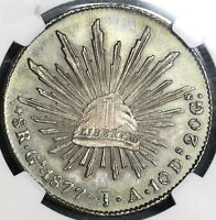 1877-Ga JA NGC MS 62 Mexico 8 Reales Silver Coin (17111002D)