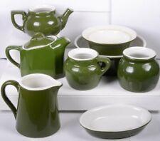 (8) Vintage Dark Green Hall Dinnerware Serving Pieces: Cream & Sugar Teapot