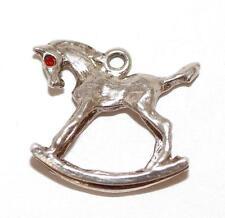 Vintage Sterling Silver Bracelet Charm Rocking Horse Crystal Eyes (2.1g)