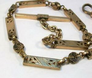 ORNATE Old ANTIQUE Victorian Art Deco Gold Plated Pocket Watch Chain Super Nice!
