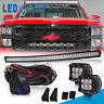 "54""inch 312W Curved LED Light Bar + 4"" Pods + Brackets For Chevy/GMC Silverado"