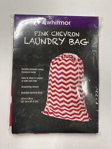 Whitmor Mesh 24x36 Inch Pink Chevron Laundry Bag