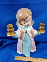 "Mid Century Modern Ceramic Mold Xmas Angel 2 Candle Holders 13"" VTG Atlantic"