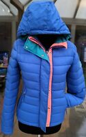 NEW Superdry Fuji Slim Double Zip Hooded Jacket Blue Womens Size XL 16 RRP £85