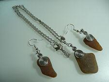 Vintage Art Deco Style Cornish Amber Sea Glass Silver Long Earrings, Pendant Set