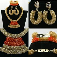 Gold and Orange Curve Design African Beads Bridal Wedding Party Jewelry Set