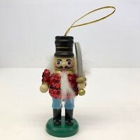 Nutcracker Christmas Ornament Wooden with Red Sequin Jacket Tree Decoration