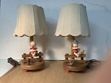Vintage Wood Nursery Lamps Boy Playing a Flute, Girl Knitting -Dog And Bird