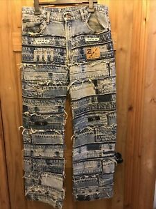 Mens Unusual Quirky Unique Ripped Distressed Patchwork Jeans