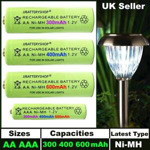AA AAA Rechargeable Solar Light Batteries 600mAh 400mAh 300mAh NiMH 1.2V UK