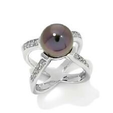 """10-11MM CULTURED PEARL AND TOPAZ STERLING SILVER """"X"""" RING SIZE 8 HSN $189.90"""