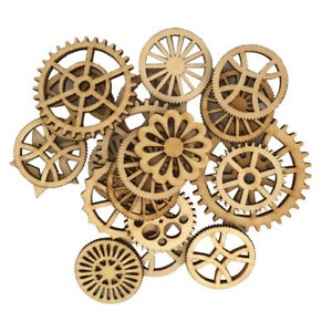 50x Mixed Laser Cuts Unfinished Wood Gear Embellishment for DIY Craft Decor