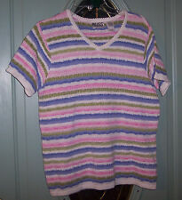 NICE! Woman's Russ Liz Claiborne 8/10 M Medium Sort Sleeve Sweater Striped  GUC