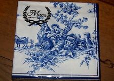 French Country Toile 20 Paper Napkins, Serviette Blue And White New.