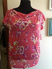 Pink Short Sleeved Floral Blouse, Size 3x, Cowl Neck , Cute!!